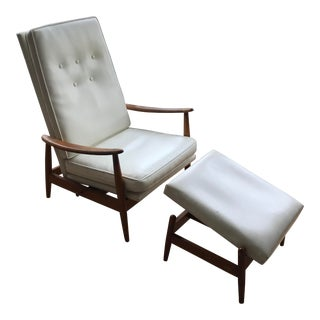 Vintage Mid Century Milo Baughman for James Inc White Recliner Chair and Ottoman For Sale