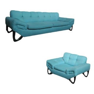 Mid-Century Modern Sofa and Lounge Chair Set in the Manner of Adrian Pearsall For Sale