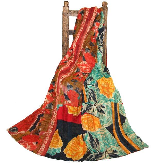 Vintage Floral Kantha Quilt - Image 3 of 3