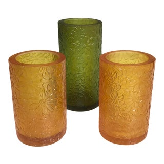 1960s Sascha B. Resin Candle Holders or Vases With Floral Decoration - Set of 3 For Sale