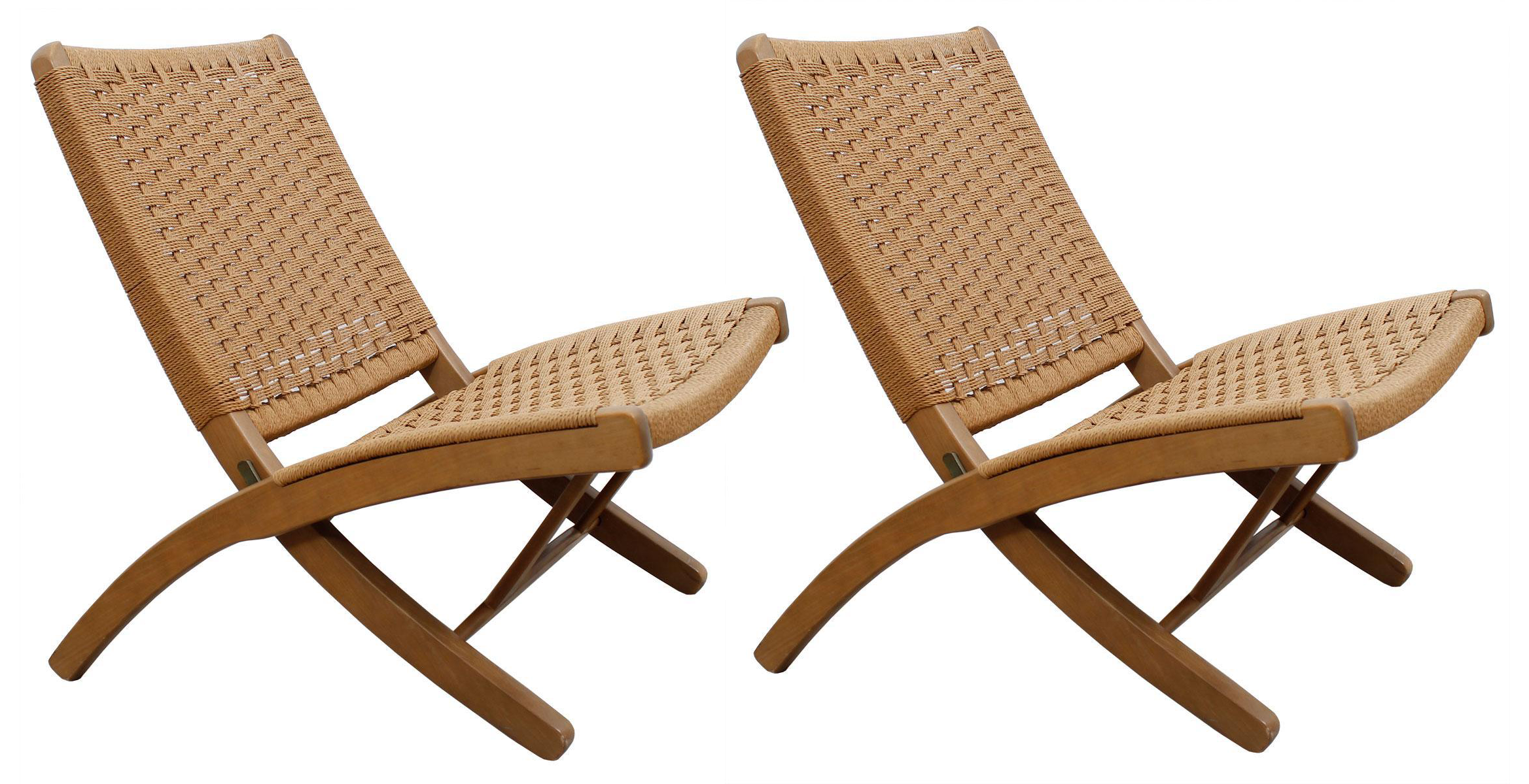 Hans Wegner Style Danish Cord Folding Chairs   S/2