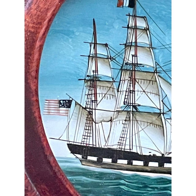 Vintage American Clipper Ship Reverse Painted Wood Box, Round Trinket Box For Sale - Image 9 of 11