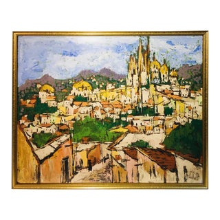 Vintage Impressionist City Oil on Board Painting For Sale