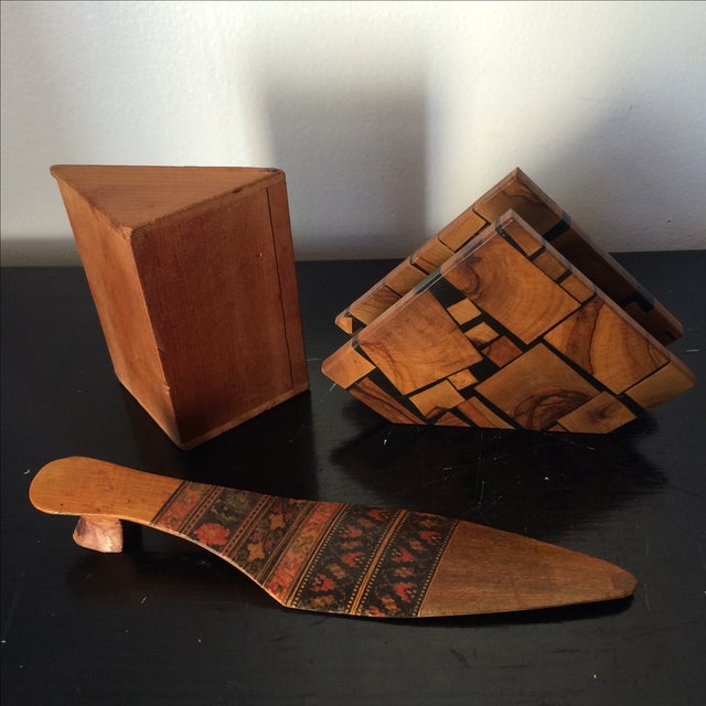 Wood Small Marquetry Wooden Collection with inlay For Sale - Image 7 of 8
