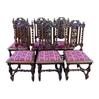 1960s French Jacobean Barley Twist Carved Oak Dining Chairs - Set of 6