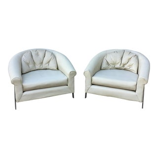 Large White Vinyl & Chrome Lounge Chairs - A Pair