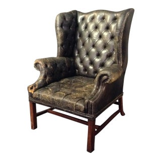 1900s Vintage Commanding Edwardian Tufted Leather Wingback Chair For Sale