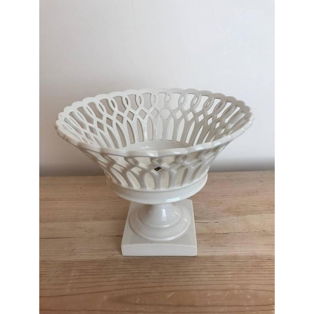 Mid-Century Modern 19th Century Woven Porcelain Bowl on Stand For Sale - Image 3 of 3