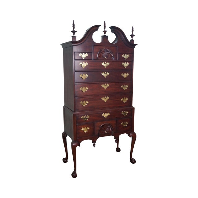 """Henkel Harris """"Spnea"""" Ball & Claw Foot Chippendale Mahogany Highboy For Sale"""