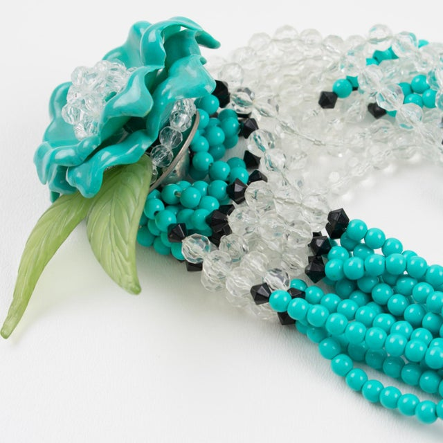 Turquoise Angela Caputi Turquoise and Black Resin Necklace with Oversized Flower For Sale - Image 8 of 13