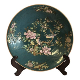 Green Asian Hand Painted Teal Floral and Bird Porcelain Bowl Charger For Sale