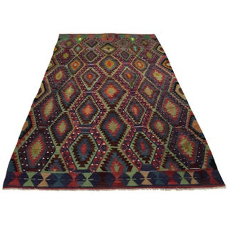 Denim and Spring Green Vintage Turkish Kilim | 6'8 X 10'6 Preview