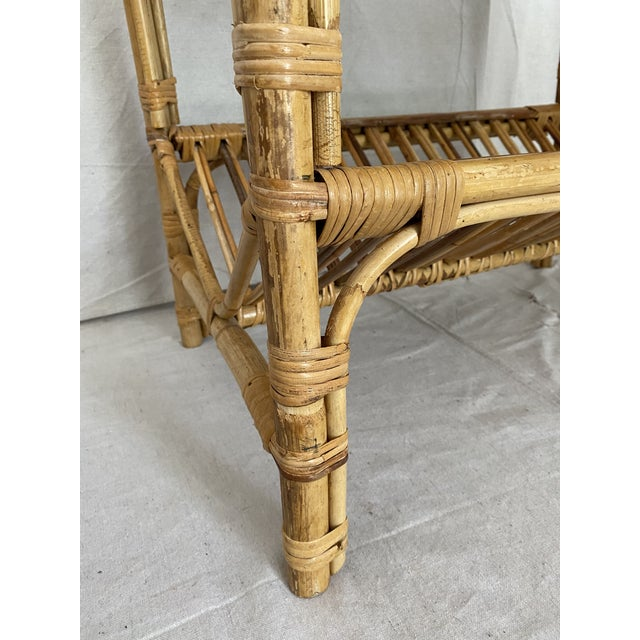 Wicker Vintage Rattan Wicker Side Table With Magazine Shelf For Sale - Image 7 of 13