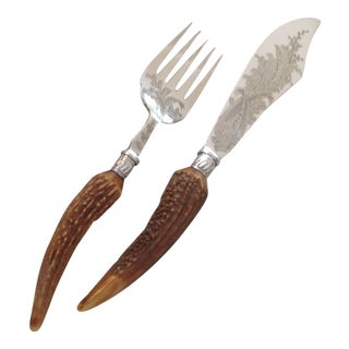 Stag Horn & English Silver Plate Serving Knife & Fork - A Pair