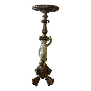 Italian Hand Carved Putti Pedestal For Sale