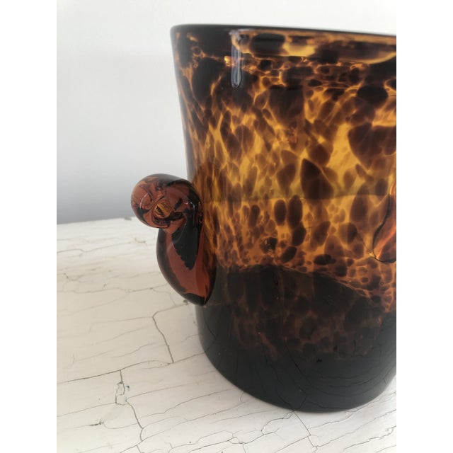 Contemporary Mid 20th Century Vintage Handblown Tortoiseshell Glass Wine Cooler Ice Bucket For Sale - Image 3 of 6