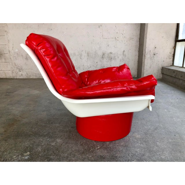 Leather Mid Century Modern Space Age Red Leather Swivel Lounge Chair Molded Plastic Decorion Futorian Italian Style Vintage MCM For Sale - Image 7 of 11