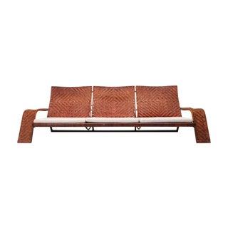 Marzio Cecchi Woven Leather Postmodern Sofa For Sale