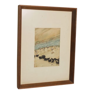 Coast Watercolor Painting Beach Seascape Teak Wood Signed Pheffey For Sale
