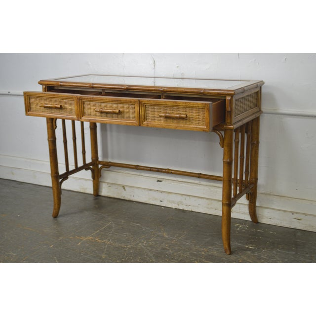 Faux Bamboo American of Martinsville Faux Bamboo & Wicker Writing Desk For Sale - Image 7 of 13