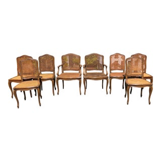French-Provincial Style Cane Dining Chairs- Set of 8 For Sale
