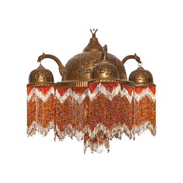 Brass Vintage Moroccan Brass & Beaded Pendant Lamp For Sale - Image 7 of 10