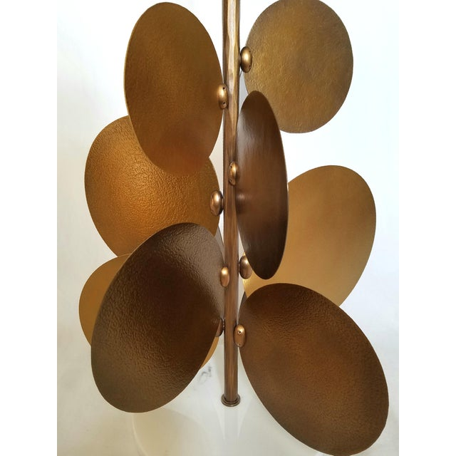 Contemporary Ralph Pucci Lamp by Herve Van Der Straeten, Pastilles 373 Hammered Brass & Marble For Sale - Image 3 of 12