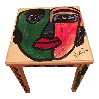 Peter Keil Abstract Colorful Face Painted Table