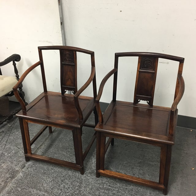 Chinese Rosewood Arm Chairs- A Pair - Image 7 of 9