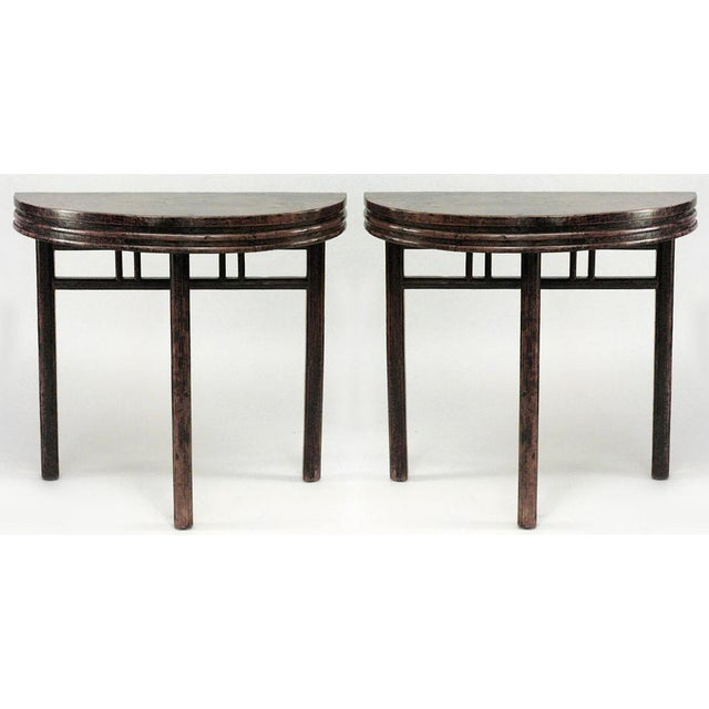 Mid 19th Century Asian Chinese Style Teak Half Round 3 Legged Console Tables- a Pair For Sale - Image 5 of 5