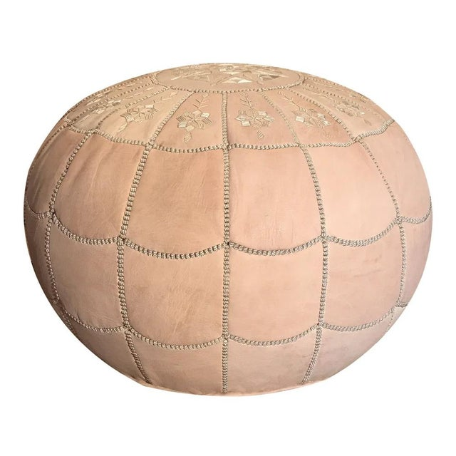 Boho Chic Full Arch Pouf by Mpw Plaza, Natural Tone (Stuffed) Moroccan Leather Pouf Ottoman For Sale - Image 3 of 3