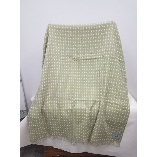 Merino Wool Throw Light Green Polka Dot - Made in England For Sale - Image 4 of 8