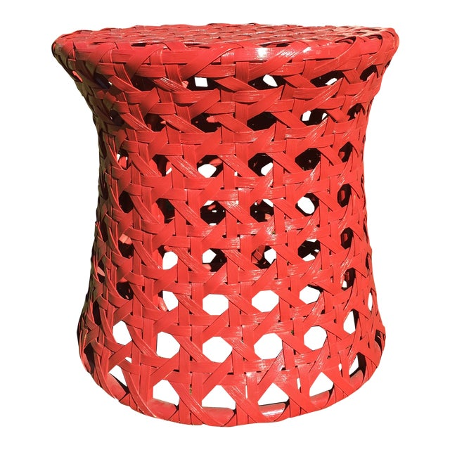 Palecek Woven Red Side Table - Image 1 of 8