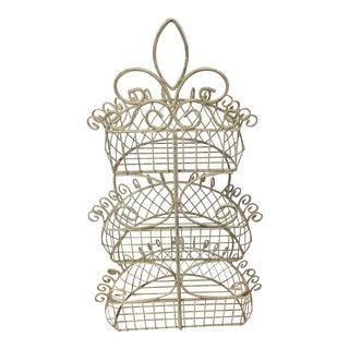 1950s Vintage Metal Decorative Wall Basket For Sale