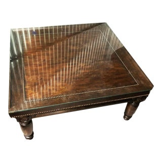 Bernhardt Commonwealth Coffee Table With Embossed Leather Trim For Sale
