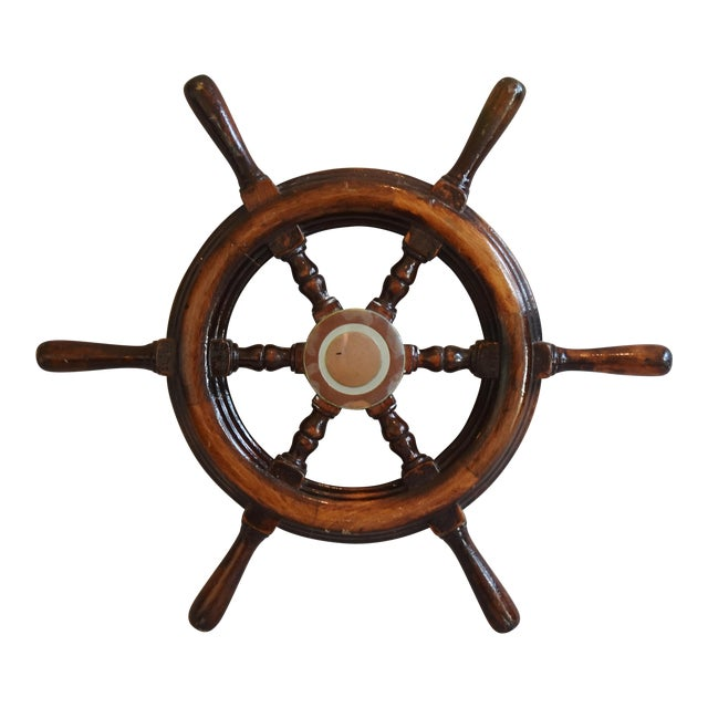 1950s Nautical Wood & Brass Ship's Wheel - Image 1 of 9