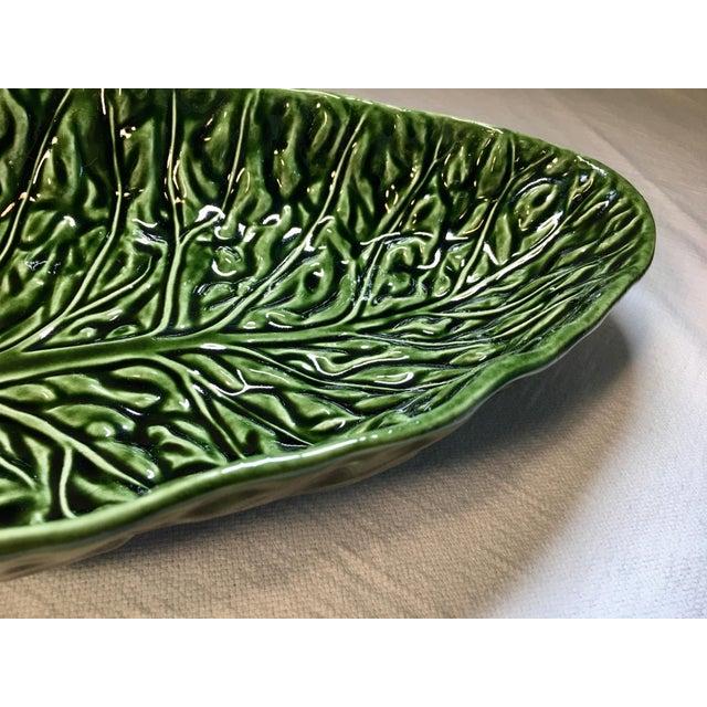 Ceramic Vintage Majolica Cabbage Leaf Serving Bowls - a Pair For Sale - Image 7 of 8