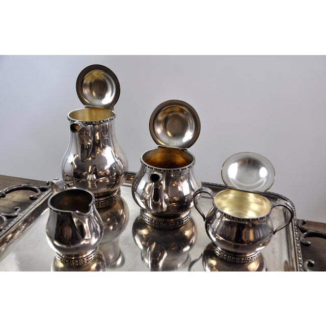 Metal French Silverplated Coffee Tea Serving Set - 5 Pieces For Sale - Image 7 of 12