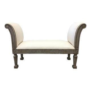 Beautiful Vintage French Upholstered Bench Window Seat For Sale