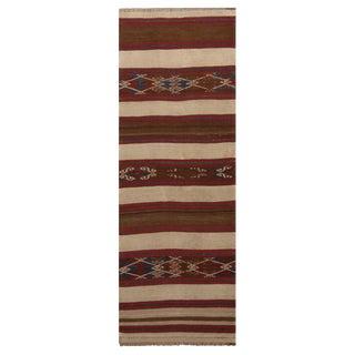 """Vintage Fatiye Beige Brown Wool Kilim Rug - 2'4"""" x 6'8' For Sale"""