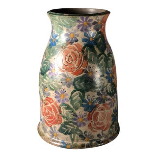 Vintage Italian Stoneware Incised and Hand-Painted Vase For Sale
