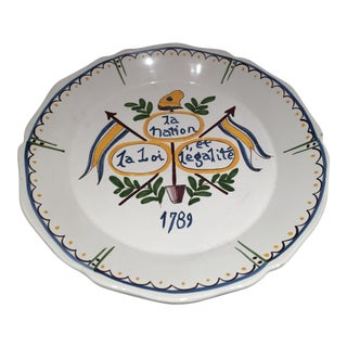 French Faience Decorative Plate For Sale