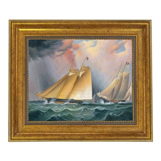 """""""Dauntless and Sappho"""" Framed Oil Painting Print on Canvas in Antiqued Gold Frame 8"""" X 10"""" Framed to 11-1/2"""" X 13-1/2"""" For Sale"""