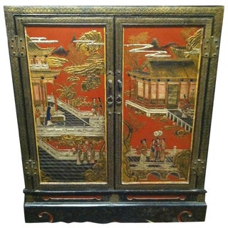 Chinese Black and Polychrome Lacquer Cabinet, Early 20th Century For Sale
