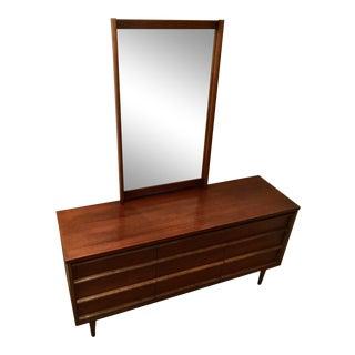 Early 20th Century Bassett Mid Century Modern Walnut Dresser & Mirror For Sale