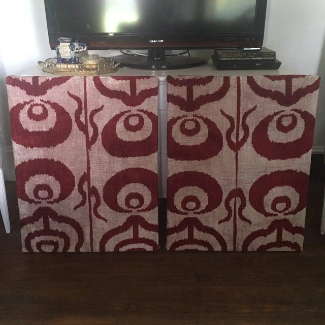 Set of 2 silk velvet ikat ottoman fabric upholstered wall art hangings. This thick cut Silk Velvet Ottoman Ikat material...