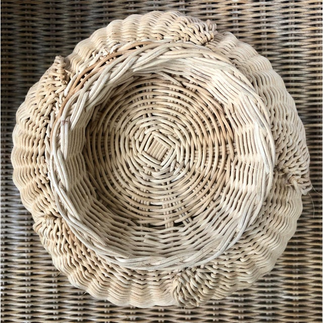 Floriform Structural Natural Woven Wicker Basket Bowl For Sale In Charleston - Image 6 of 10