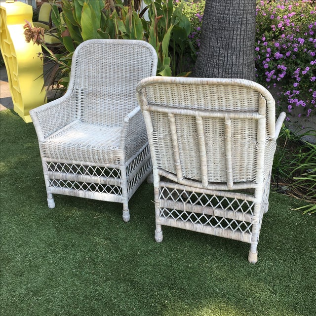 Shabby Chic White Wicker Chairs - a Pair - Image 7 of 7