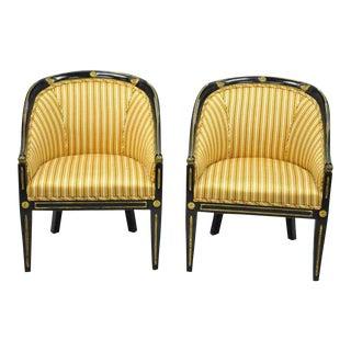 Black Ebonized Gold Regency Barrel Back Slipper Lounge Chairs- A Pair For Sale