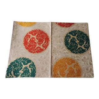 Vintage Orange and Green Silk Obi Textile With Medallions Fragment For Sale